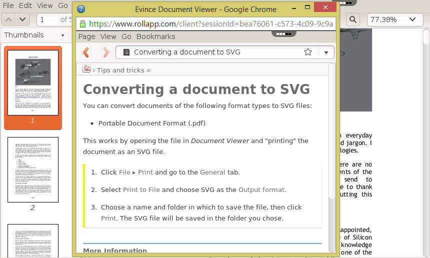 Evince File Viewer – Open PDF, DjVu, TIFF in the Browser – rollApp