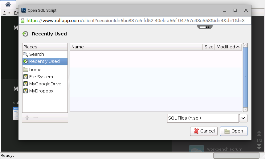 MySql Workbench Online – rollApp