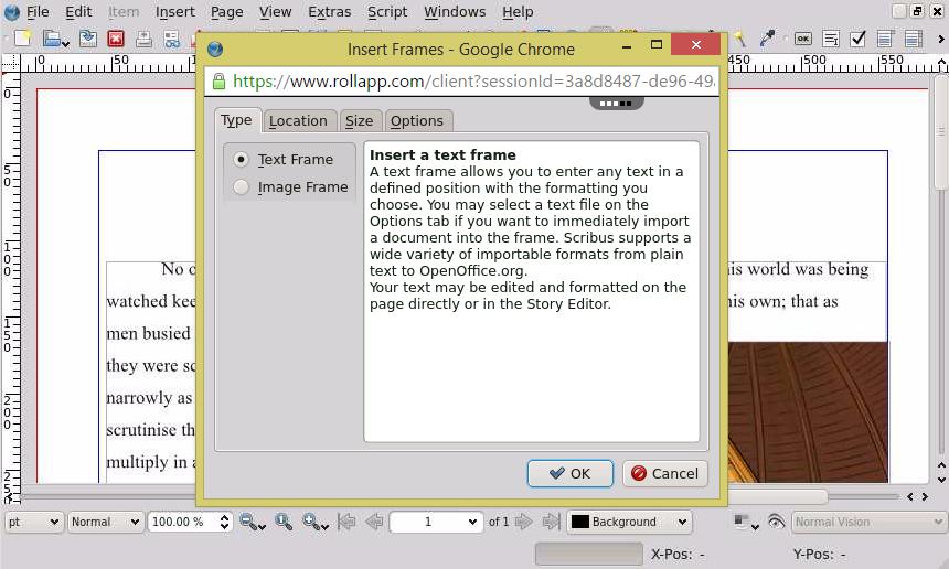 Scribus Free Publishing App – Color Separations, PDF Creation – rollApp
